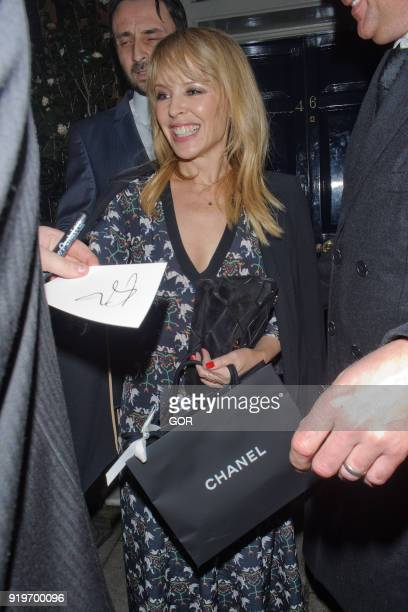 Kylie Minogue attending pre Bafta dinner at Marks club Mayfair on February 17 2018 in London England