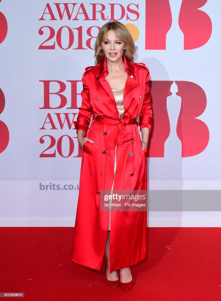 Kylie Minogue attending the Brit Awards at the O2 Arena, London.