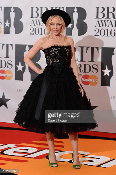 Kylie Minogue attends the BRIT Awards 2016 at The O2 Arena on February 24 2016 in London England