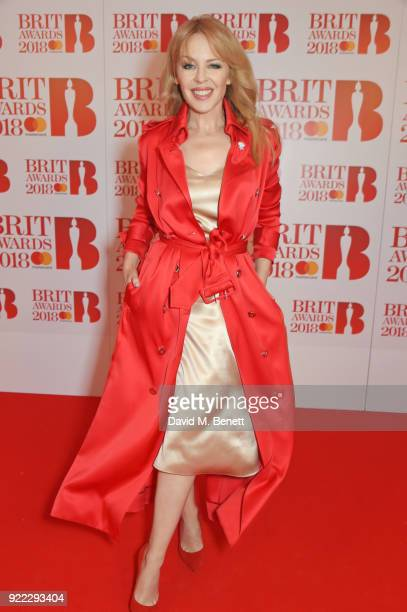 AWARDS 2018 *** Kylie Minogue attends The BRIT Awards 2018 held at The O2 Arena on February 21 2018 in London England