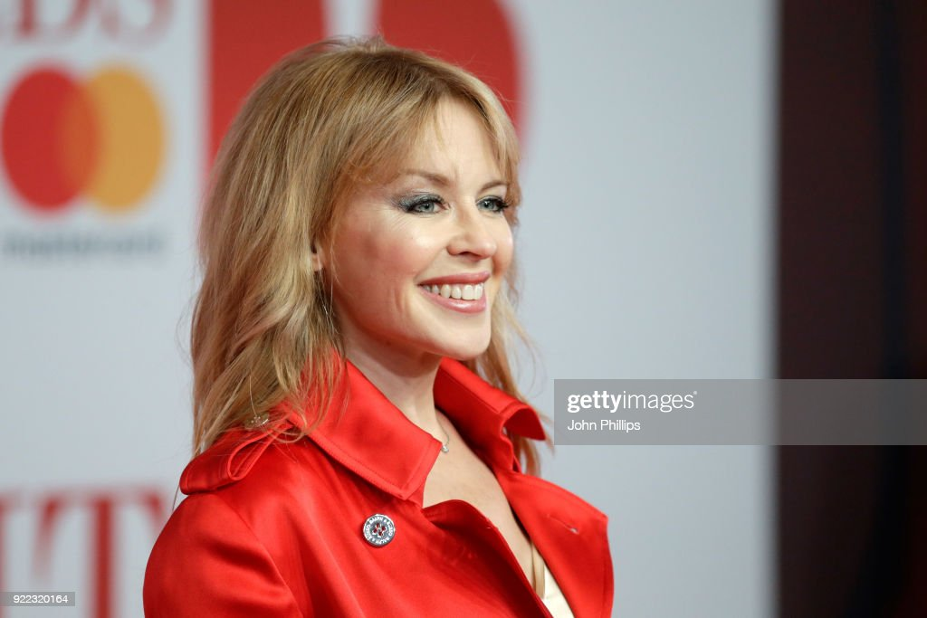 Kylie Minogue attends The BRIT Awards 2018 held at The O2 Arena on February 21, 2018 in London, England.