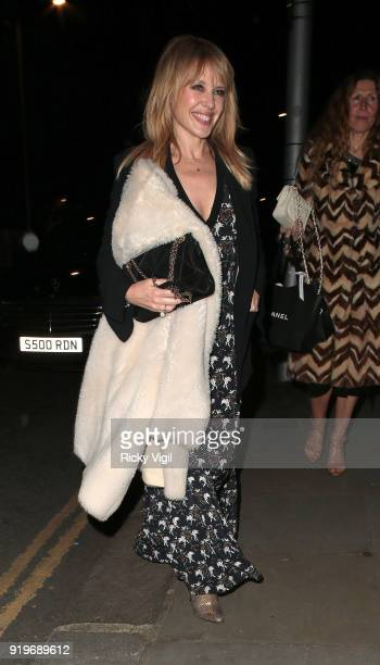 Kylie Minogue attends The Charles Finch Chanel PreBAFTAs Dinner at Mark's Club on February 17 2018 in London England