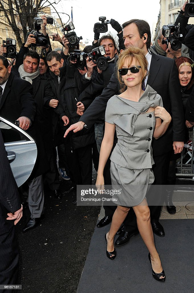 Kylie Minogue attends the Christian Dior Haute-Couture show as part of the Paris Fashion Week Spring/Summer 2010 on January 25, 2010 in Paris, France.