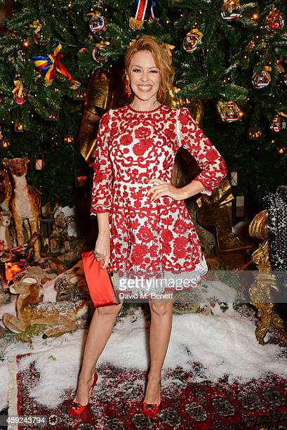 Kylie Minogue attends the Claridge's Dolce and Gabbana Christmas Tree party at Claridge's Hotel on November 19 2014 in London England