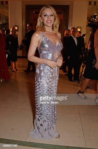 Kylie Minogue attends the Harper's Bazaar Women Of The Year Awards 2018 in partnership with Michael Kors and MercedesBenz at Claridge's Hotel on...