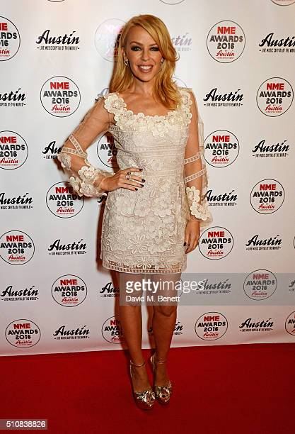 Kylie Minogue attends the NME Awards with Austin Texas at the O2 Academy Brixton on February 17 2016 in London England