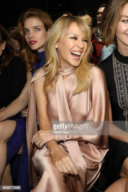 Kylie Minogue attends the Ralph Russo Haute Couture Spring Summer 2018 show as part of Paris Fashion Week on January 22 2018 in Paris France
