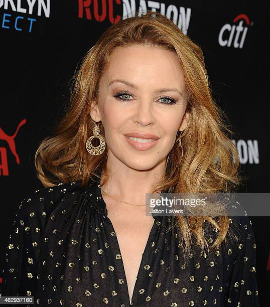 Kylie Minogue attends the Roc Nation Grammy brunch on February 7 2015 in Beverly Hills California