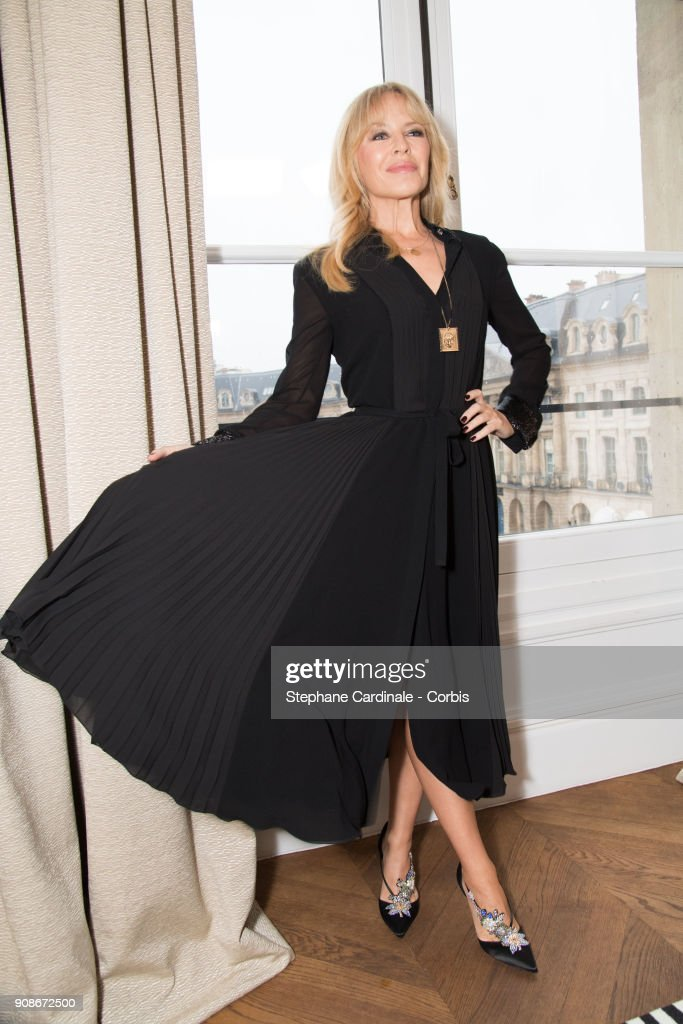 Kylie Minogue attends the Schiaparelli Haute Couture Spring Summer 2018 show as part of Paris Fashion Week January 22, 2018 in Paris, France.
