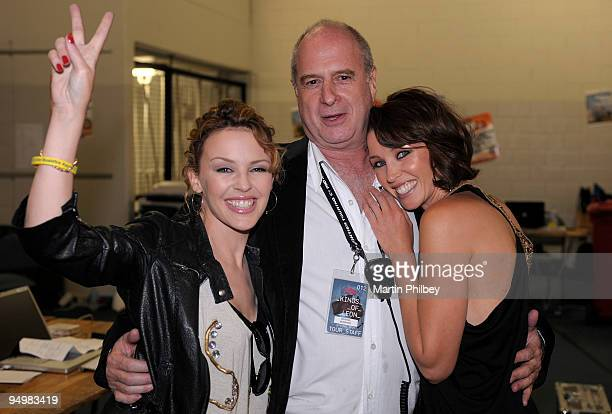 Kylie Minogue backstage with her sister Danni Minogue and record executive Michael Gudinski at Sound Relief Bushfire Benefit Concert on March 14th...
