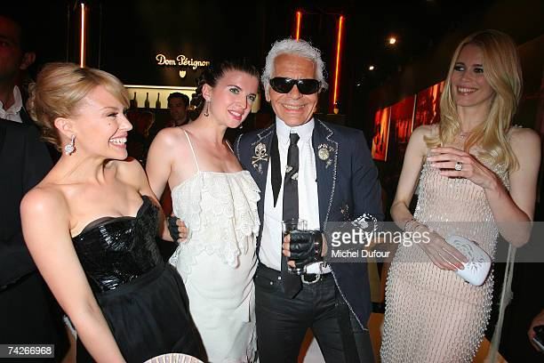 Kylie Minogue Cecile Cassel Karl Lagerfeld and Claudia Schiffer attend a dinner sponsored by magazine Madame Figaro to celebrate the Sixtieth...