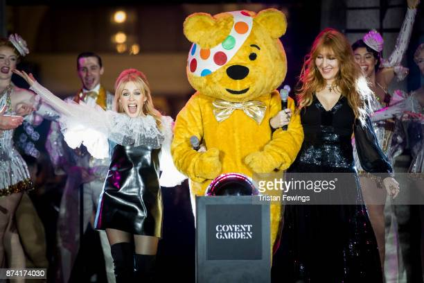 Kylie Minogue Charlotte Tilbury and BBC Children in Need's Pudsey Bear switch on the Covent Garden Christmas lights at Covent Garden on November 14...