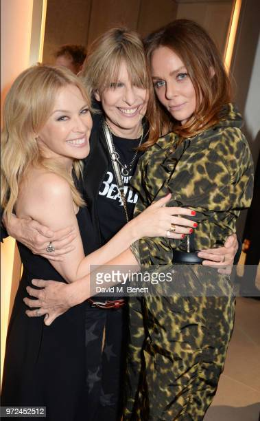 Kylie Minogue, Chrissie Hynde and Stella McCartney attend the launch of the Stella McCartney Global flagship store on Old Bond Street on June 12,...