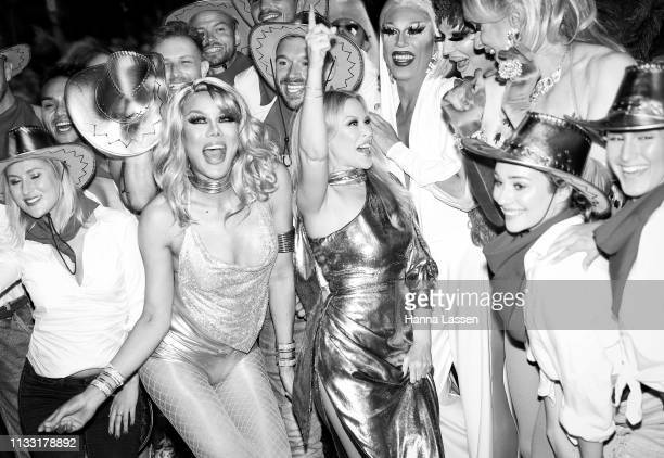 Kylie Minogue dances alongside parade participants during the 2019 Sydney Gay Lesbian Mardi Gras Parade on March 02 2019 in Sydney Australia The...