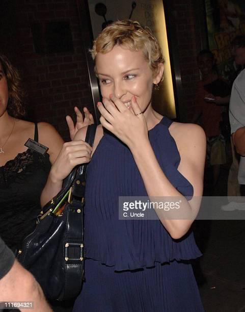 Kylie Minogue during Brasil Brasileiro London Premiere Departures at Sadler's Wells Theatre in London Great Britain