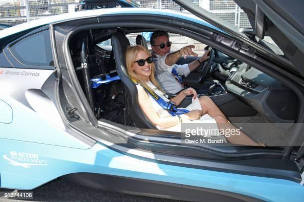 Kylie Minogue enjoys a safty car lap with FIA Formula E CEO Alejandro Agag at the ABB FIA Formula E Antofagasta Minerals Santiago EPrix on February 3...
