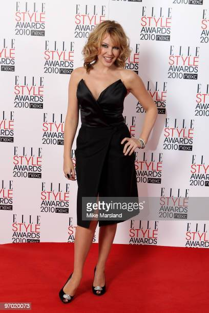 Kylie Minogue in the Winner's room at the ELLE Style Awards 2010 at the Grand Connaught Rooms on February 22, 2010 in London, England.
