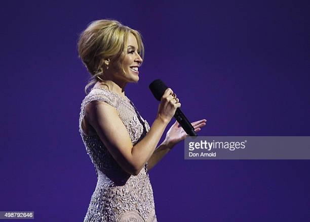 Kylie Minogue inducts Tina Arena into the Aria Hall of Fame during the 29th Annual ARIA Awards 2015 at The Star on November 26 2015 in Sydney...