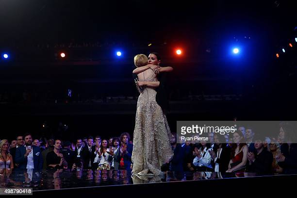 Kylie Minogue inducts Tina Arena into the Hall Of Fame during the 29th Annual ARIA Awards 2015 at The Star on November 26 2015 in Sydney Australia