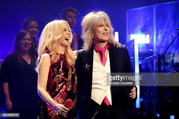 Kylie Minogue is joined by Chrissie Hynde for the duet of the song '2000 Miles' at the Royal Albert Hall on December 11 2015 in London England