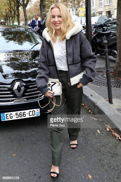 Kylie Minogue is seen arriving at her Hotel on October 2 2017 in Paris France