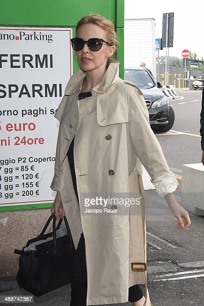 Kylie Minogue is seen arriving at Linate airport on May 8 2014 in Milan Italy