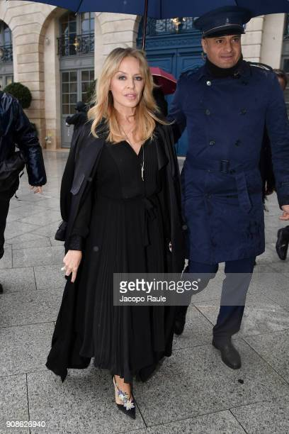 Kylie Minogue is seen arriving at Schiaparelli Fashion show during Paris Fashion Week Haute Couture Spring/Summer 2018 on January 22 2018 in Paris...