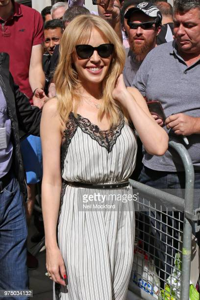 Kylie Minogue is seen at BBC Radio 2 on June 15 2018 in London England
