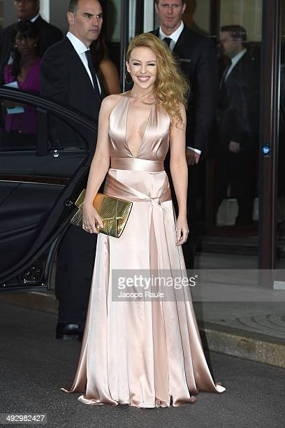Kylie Minogue is seen leaving Hotel Martinez on day 9 of the 67th Annual Cannes Film Festival on May 22 2014 in Cannes France
