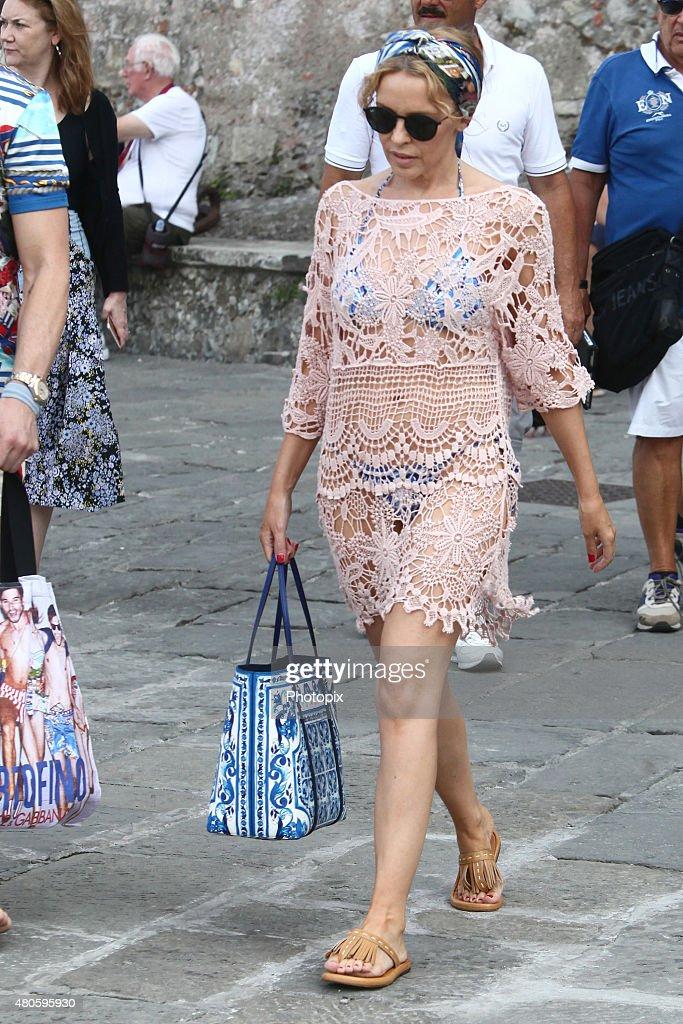 Kylie Minogue is seen on Dolce Gabbana boat July 13, 2015 in Portofino, .