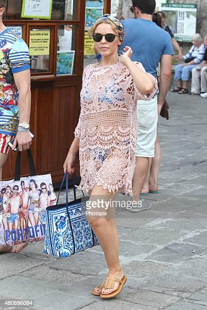 Kylie Minogue is seen on Dolce Gabbana boat July 13 2015 in Portofino