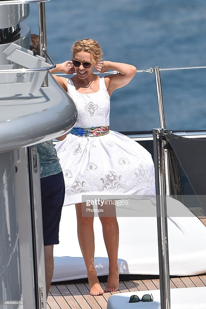 Kylie Minogue is seen on Dolce Gabbana boat on July 13, 2015 in Portofino, .