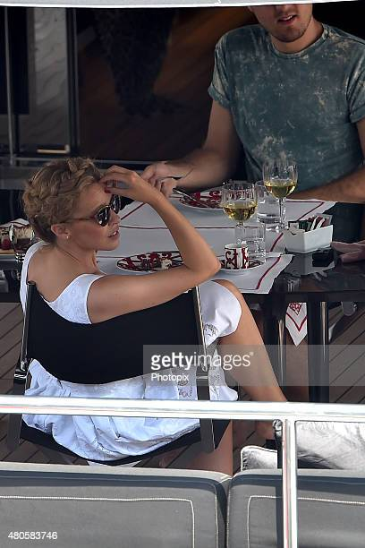 Kylie Minogue is seen on Dolce Gabbana boat on July 13 2015 in Portofino