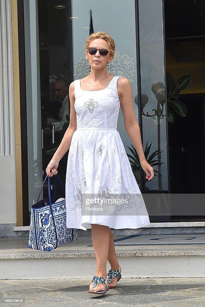 Kylie Minogue is seen on July 13, 2015 in Portofino, .
