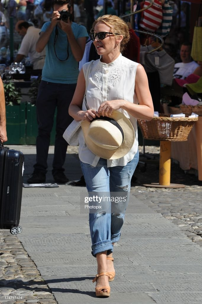 Kylie Minogue is sighted on July 28, 2013 in Portofino, Italy. Kylie Minogue is spending her holiday as a guest in Stefano Gabbana and Domenico Dolce's villa in Portofino.