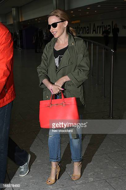 Kylie Minogue is spotted arriving back at Heathrow after a trip to the US on May 9 2013 in London England
