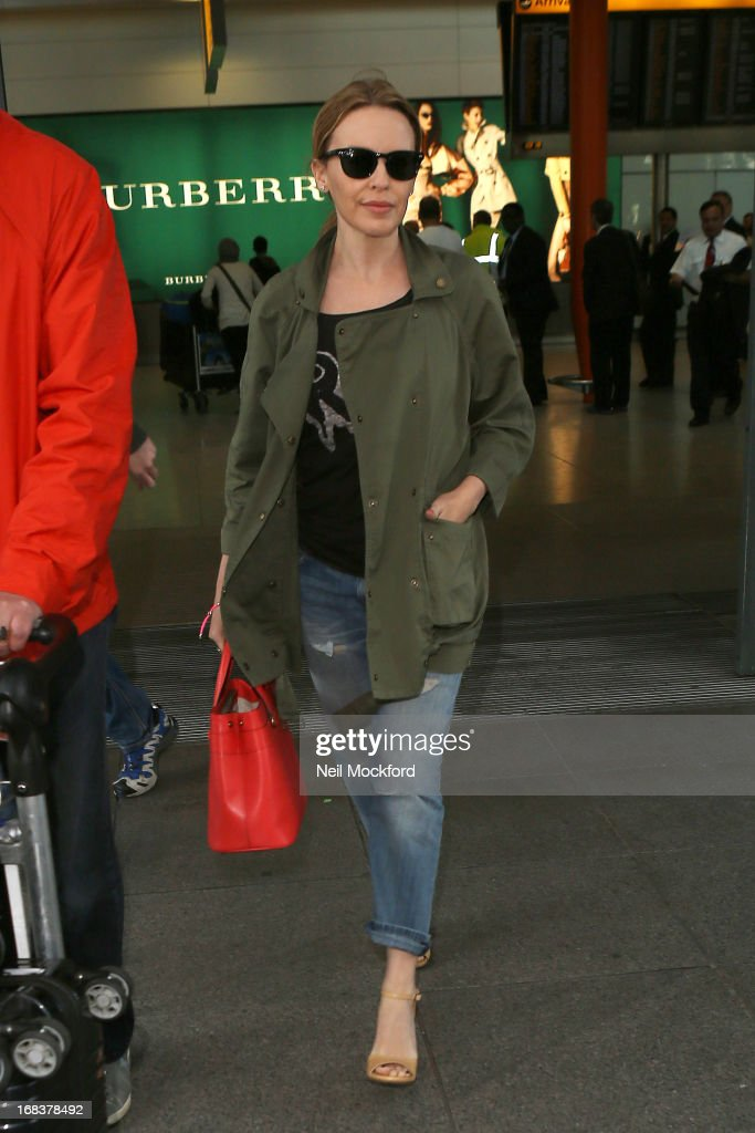 Kylie Minogue is spotted arriving back at Heathrow after a trip to the U.S on May 9, 2013 in London, England.