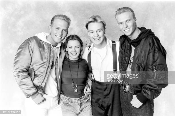 Kylie Minogue Jason Donovan Matt and Luke Goss of Bros during the recording of the Band Aid 2 charity single 'Do They Know It's Christmas' PWL...