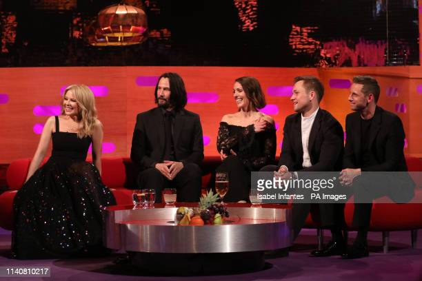 Kylie Minogue Keanu Reeves Suranne Jones Taron Egerton and Jamie Bell during the filming for the Graham Norton Show at BBC Studioworks 6 Television...
