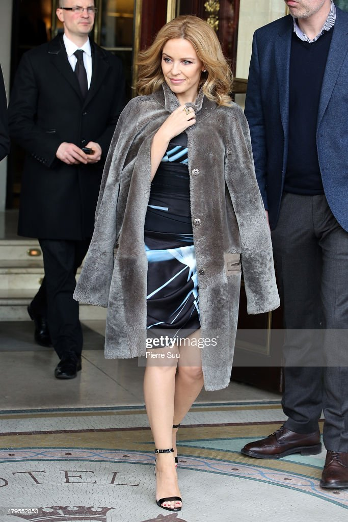Kylie Minogue leaves her hotel on March 19, 2014 in Paris, France.