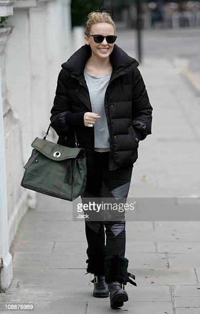 Kylie Minogue leaving her West London home on February 7 2011 in London England