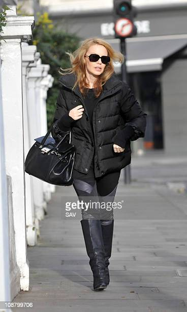 Kylie Minogue leaving home on February 3 2011 in London England