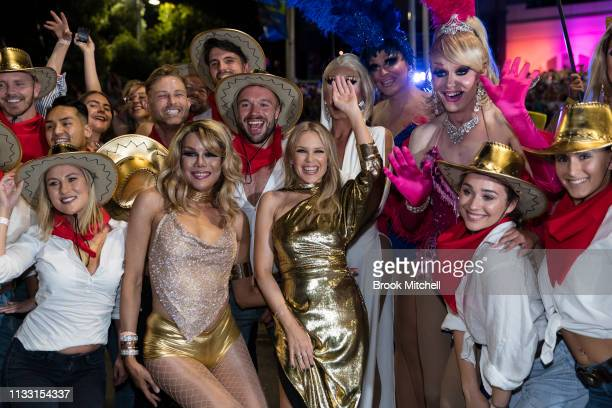 Kylie Minogue makes an appearance during the 2019 Sydney Gay Lesbian Mardi Gras Parade on March 02 2019 in Sydney Australia The Sydney Mardi Gras...