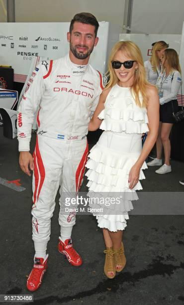 Kylie Minogue meets Formula E racing driver Jose Maria Lopez at the ABB FIA Formula E Antofagasta Minerals Santiago EPrix on February 3 2018 in...
