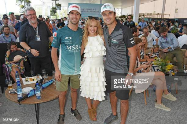 Kylie Minogue meets Formula E racing drivers Antonio Felix Da Costa and Nelson Piquet Jr at the ABB FIA Formula E Antofagasta Minerals Santiago EPrix...