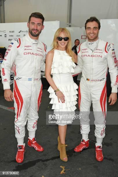 Kylie Minogue meets Formula E racing drivers Jose Maria Lopez and Jerome D'Ambrosio at the ABB FIA Formula E Antofagasta Minerals Santiago EPrix on...