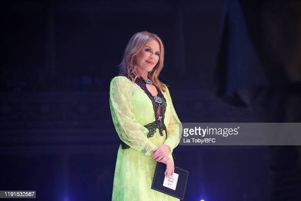 Kylie Minogue on stage during The Fashion Awards 2019 held at Royal Albert Hall on December 02 2019 in London England