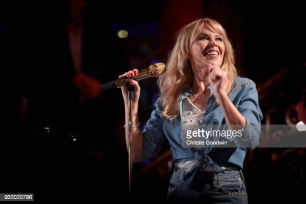 Kylie Minogue performs an intimate show previewing songs from her new album 'Golden' at Cafe de Paris in London