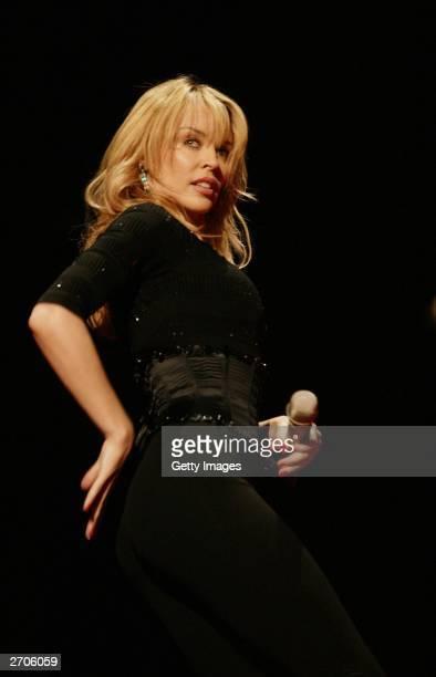 Kylie Minogue performs at the MTV Europe Music Awards 2003 on November 6 2003 in Edinburgh Scotland