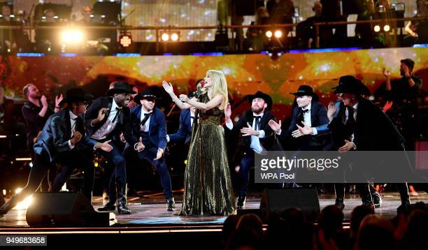 Kylie Minogue performs at the Royal Albert Hall for a starstudded concert to celebrate the Queen's 92nd birthday on April 21 2018 in London England...
